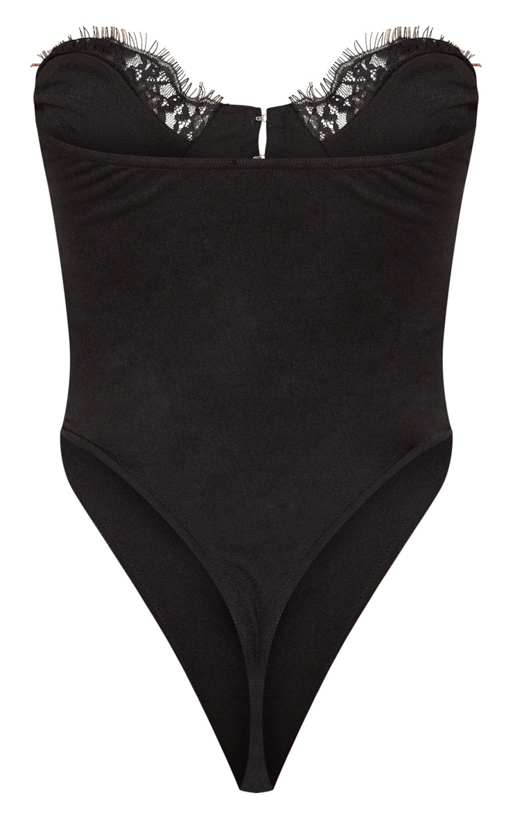 Black Lace Trim Hook And Eye Bodysuit 4