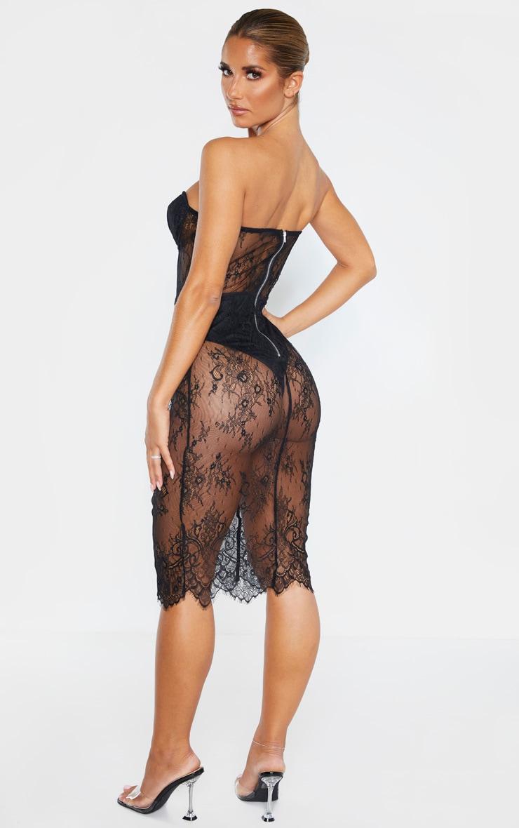Black Bandeau Cup Detail Lace Midi Dress 2