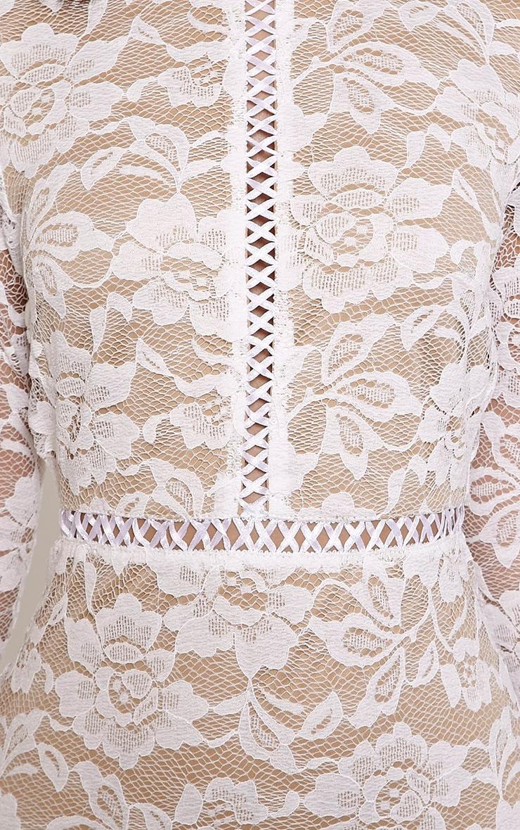 Melinda White Open Back Lace Mini Dress 5