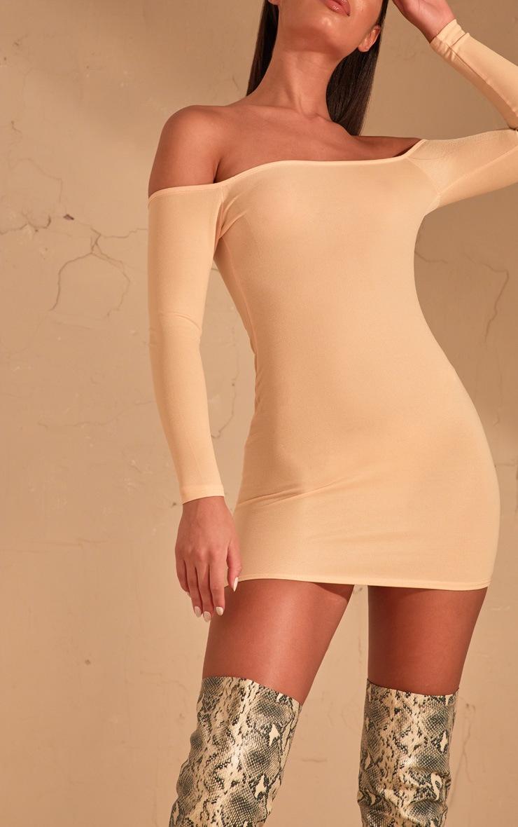 Cream Bardot Bodycon Dress  5