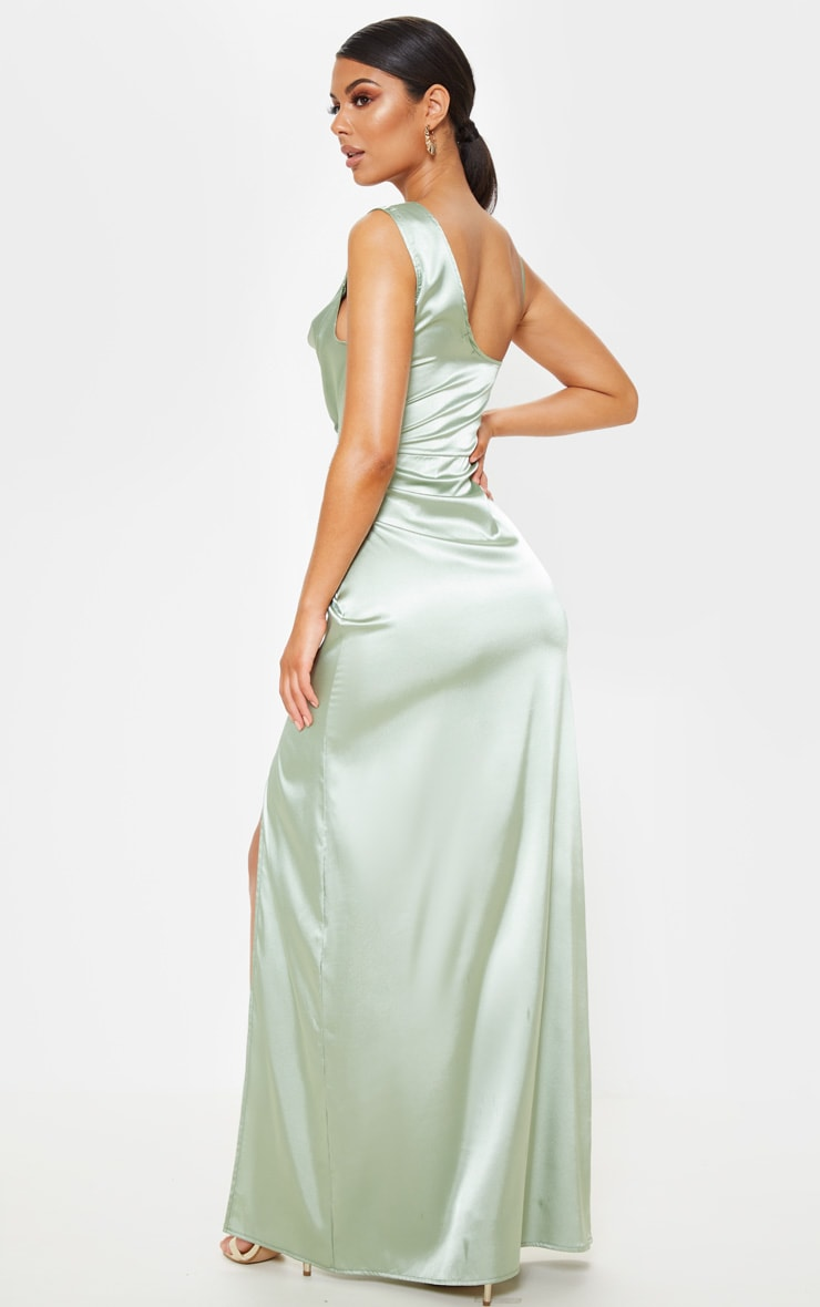Sage Green Satin Cowl Neck Maxi Dress 2