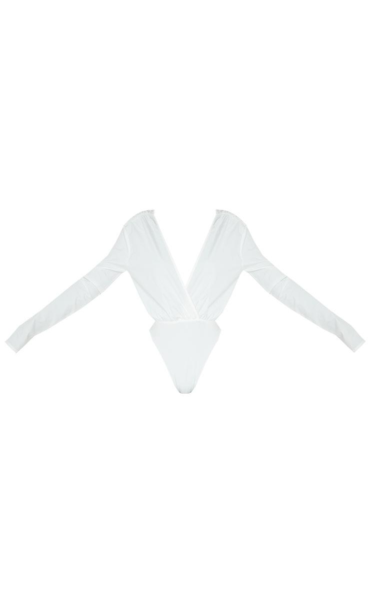 Tall White Plunge Bodysuit 5