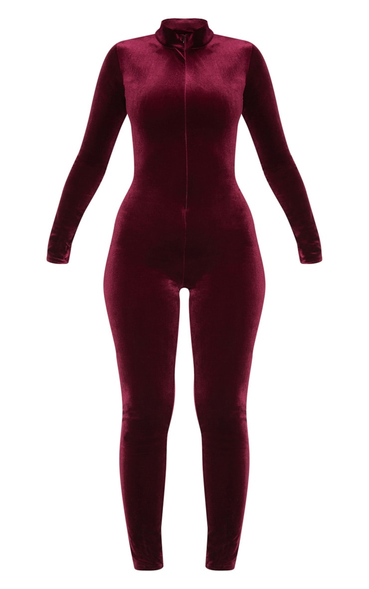 Wine Velvet Zip Front High Neck Jumpsuit 3