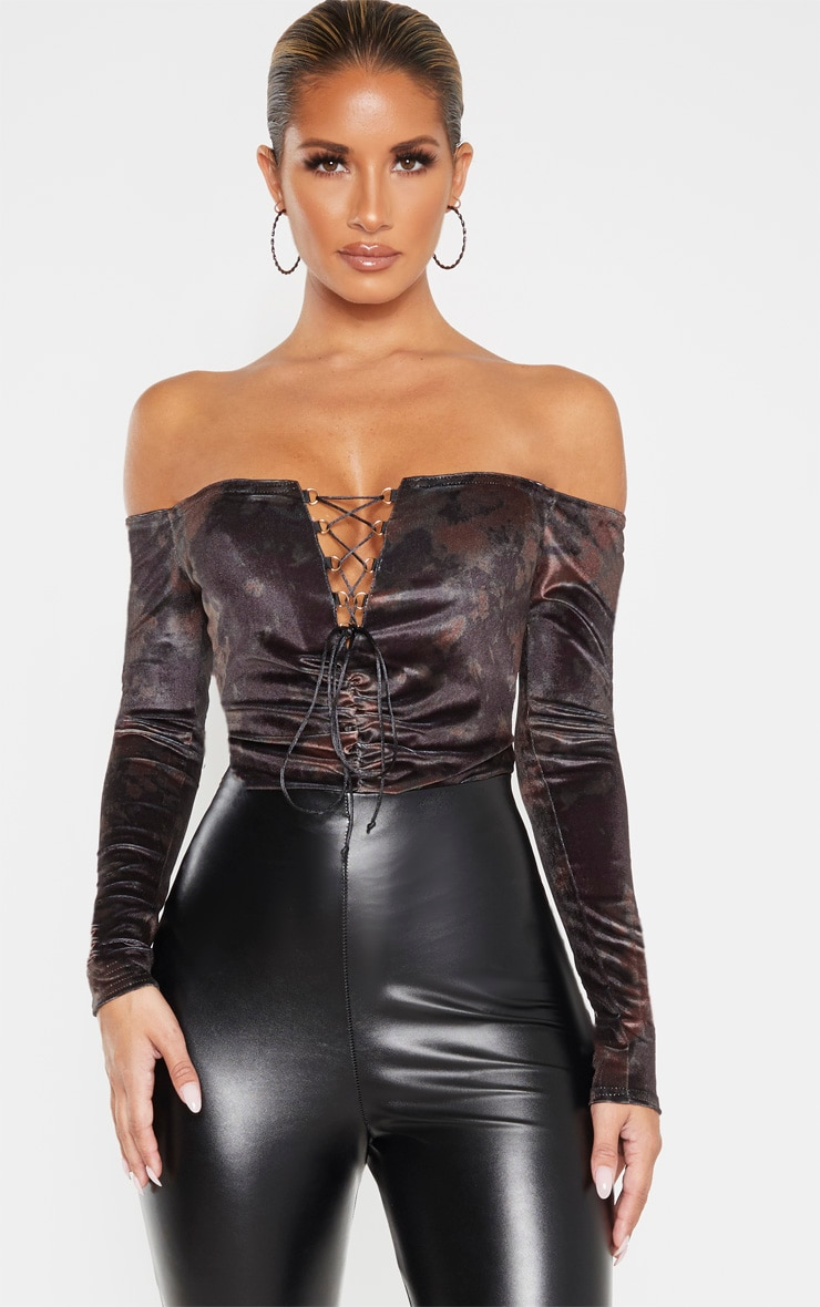 Khaki Velvet Tie Dye Lace up Ruched Bardot Bodysuit 1