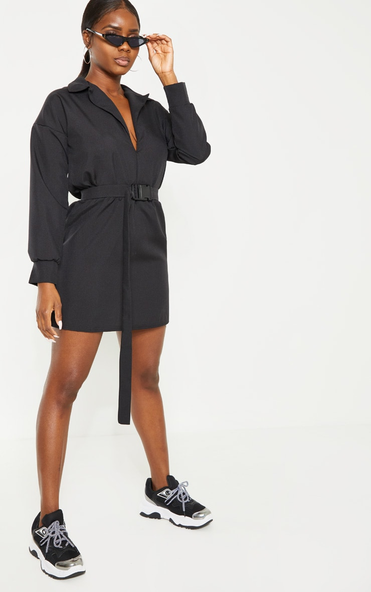 Petite Black Belt Detail Cargo Shirt Dress 1