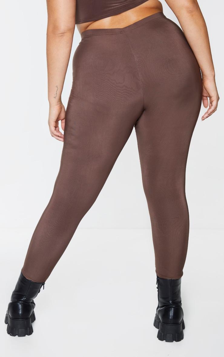 Plus Dark Brown Slinky High Waist Leggings 3