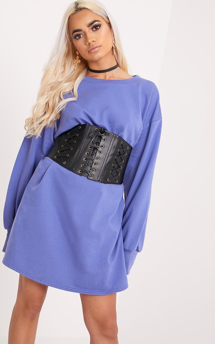 Sianna Blue Oversized Sweater Dress 1