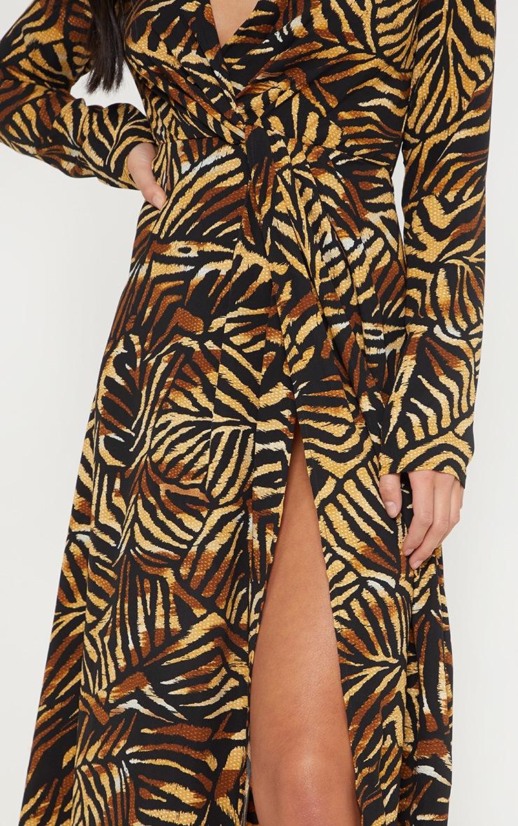 Petite Brown Tiger Print Twist Front Maxi Dress 5