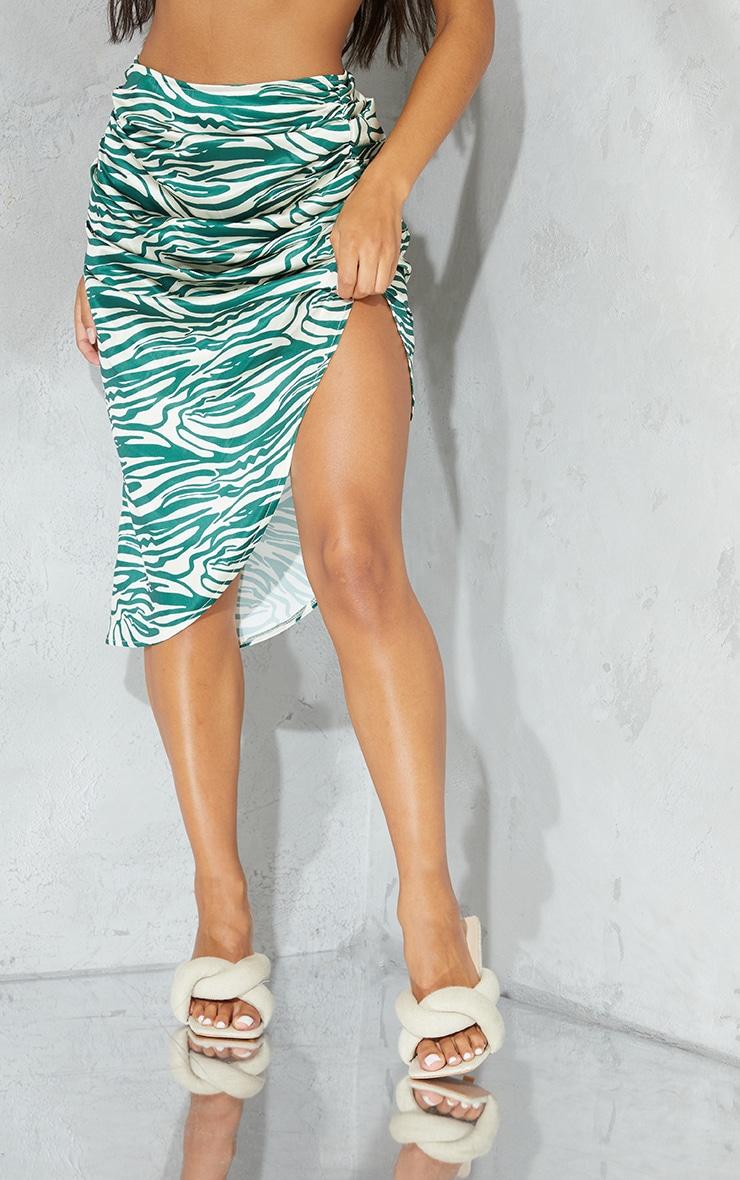 Green Zebra Printed Satin Ruched Detail Midi Skirt 2