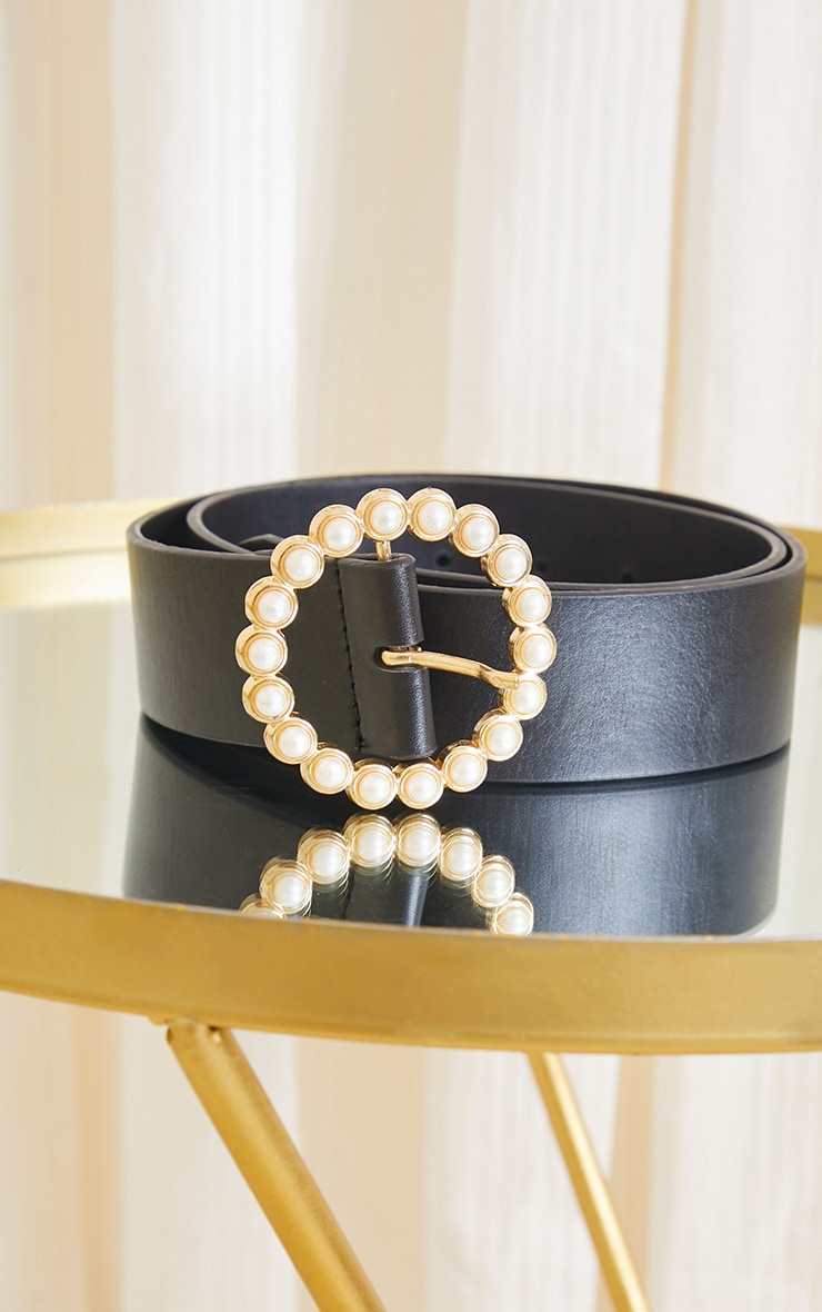 Gold With Pearl Round Buckle Waist Belt 1