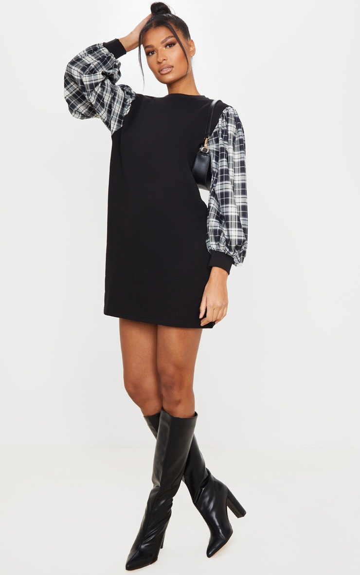 Black Check Print Contrast Sleeve Jumper Dress 3