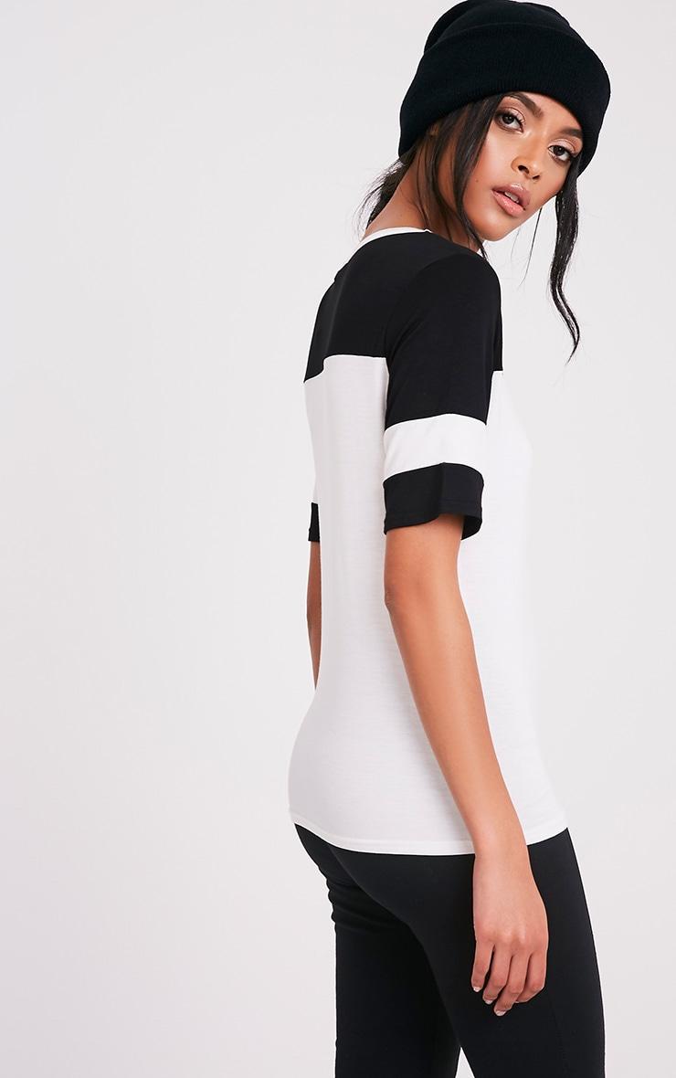 Melita Cream Colourblock V Neck Jersey T Shirt 5
