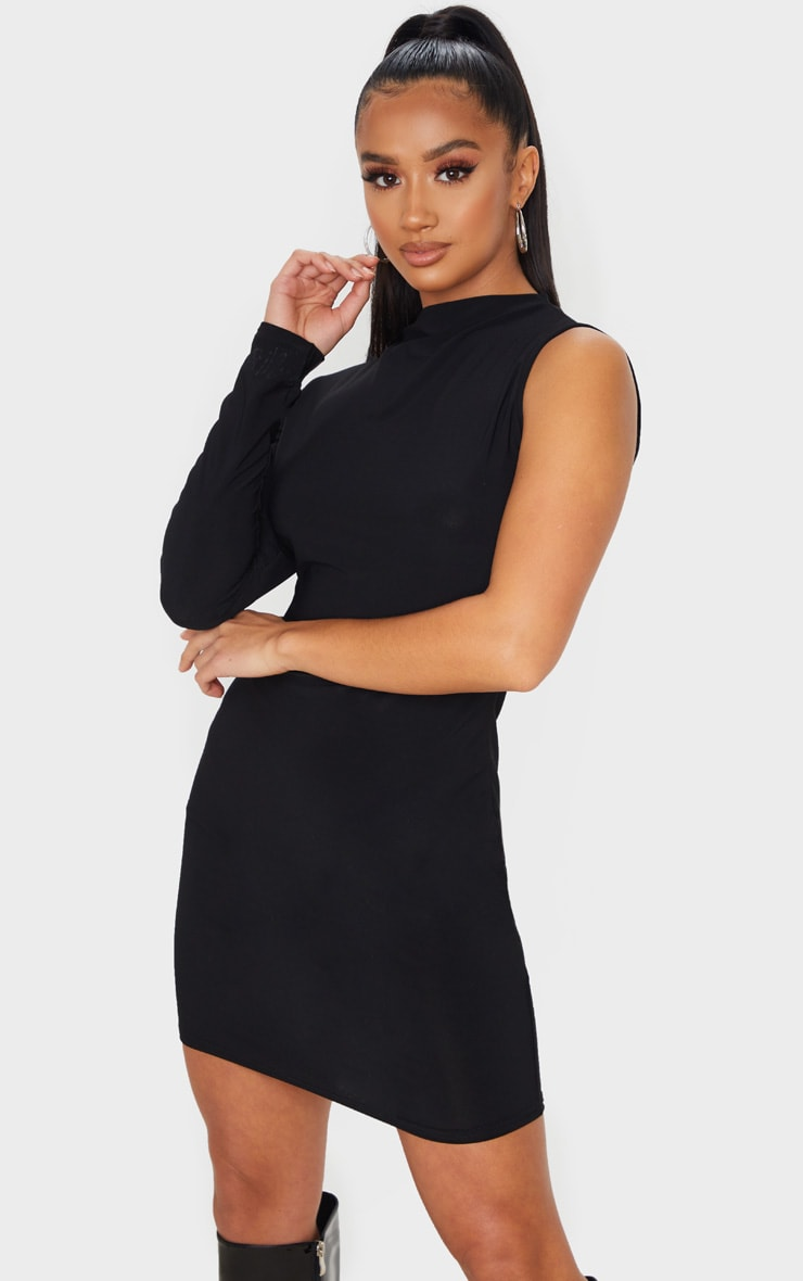 Casual one shoulder bodycon dress long sleeve