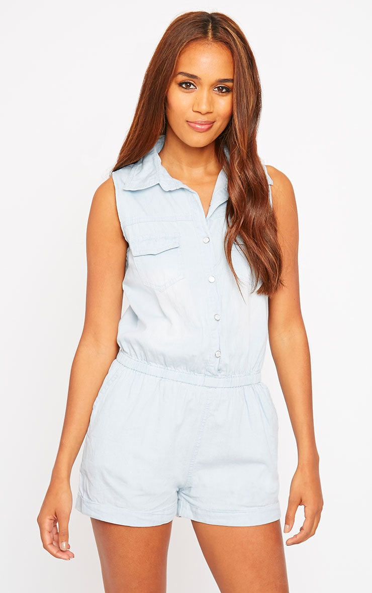 Elin Light Wash Denim Playsuit 1