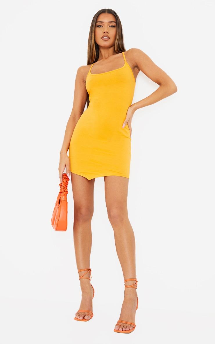 Orange Strappy Pointy Hem Lace Up Back Bodycon Dress 3