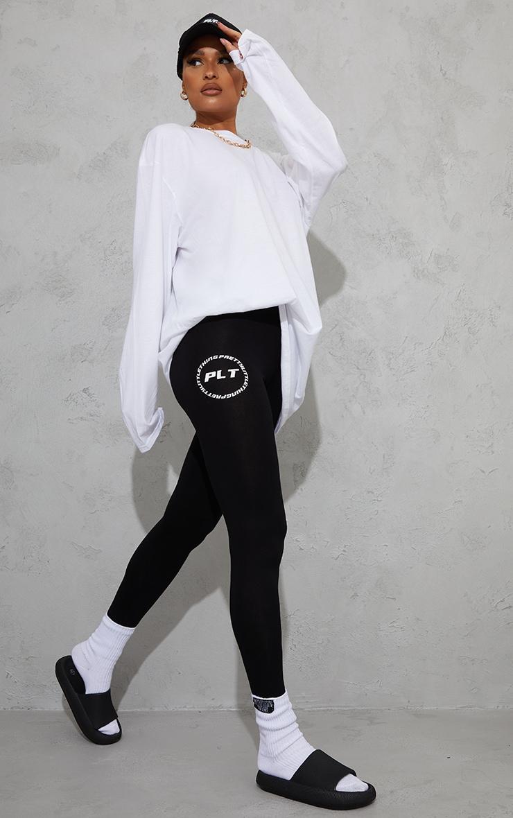 PRETTYLITTLETHING Black Circle Logo Leggings 1