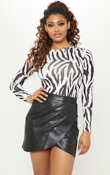 Tall Black Snake Effect Faux Leather Wrap Skirt 5