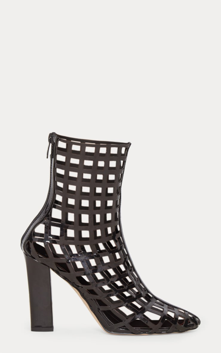 Black Caged Ankle Heeled Boot 3