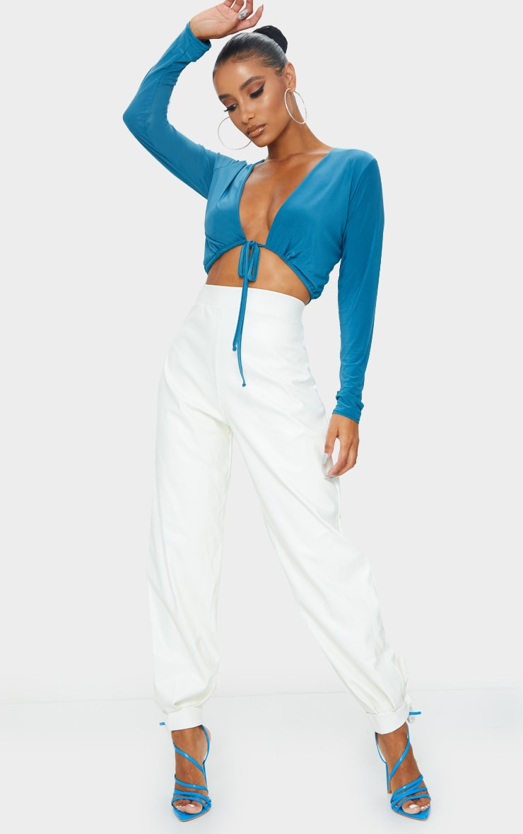 Teal Slinky Tie Waist Long Sleeve Crop Top 3