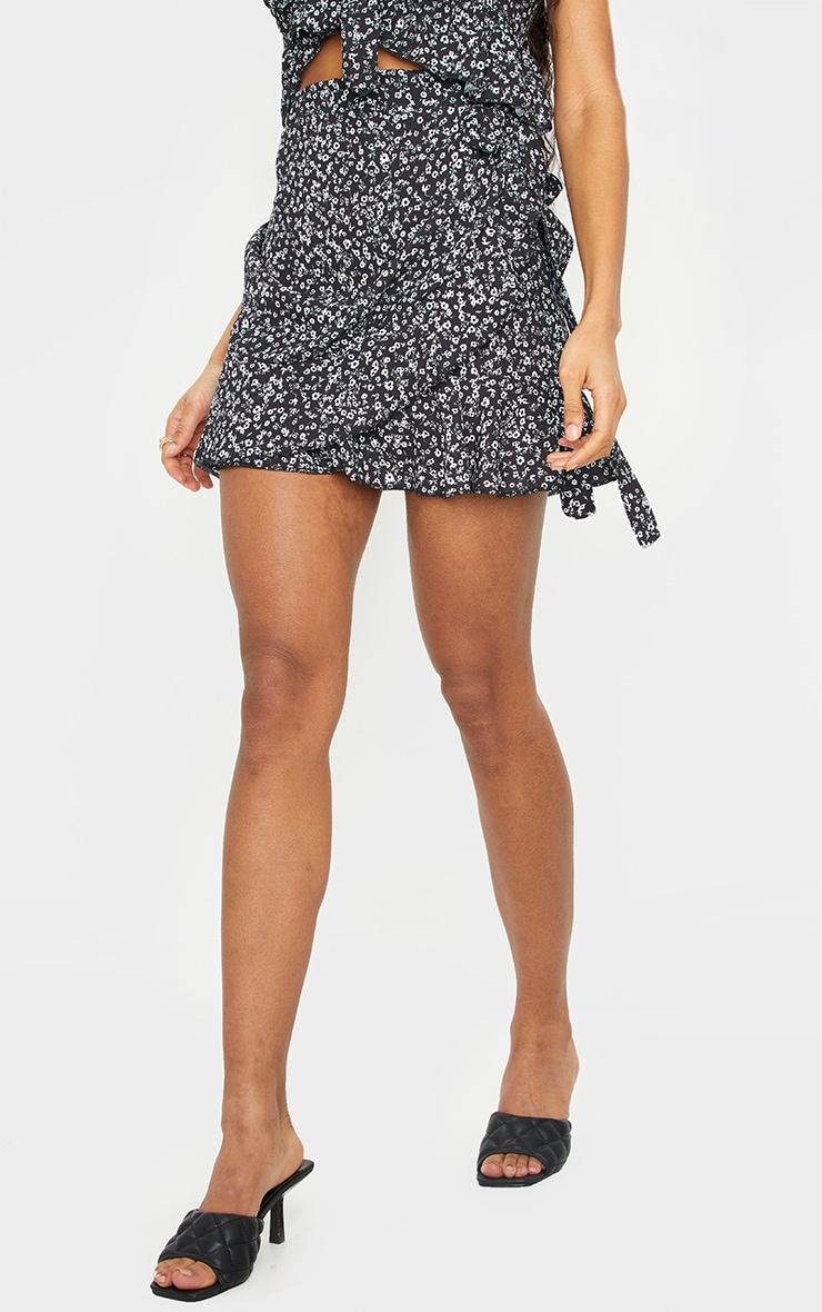Black Ditsy Print Frill Edge Tie Front Mini Skirt 2