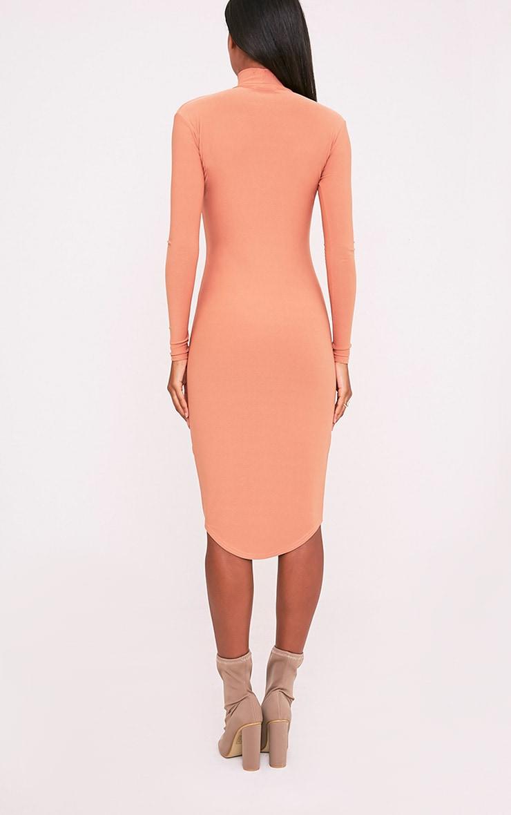 Malaya Peach Crepe Choker Detail Midi Dress 2