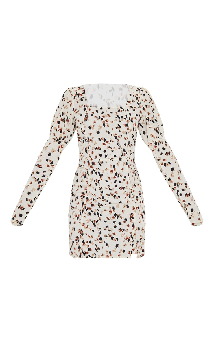 Cream Dalmatian Print Square Neck Side Split Shift Dress 3