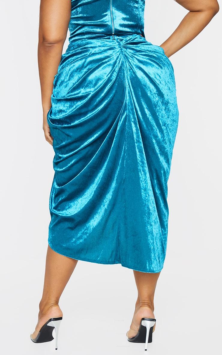 Plus Teal Velvet Ruched Side Midi Skirt 3