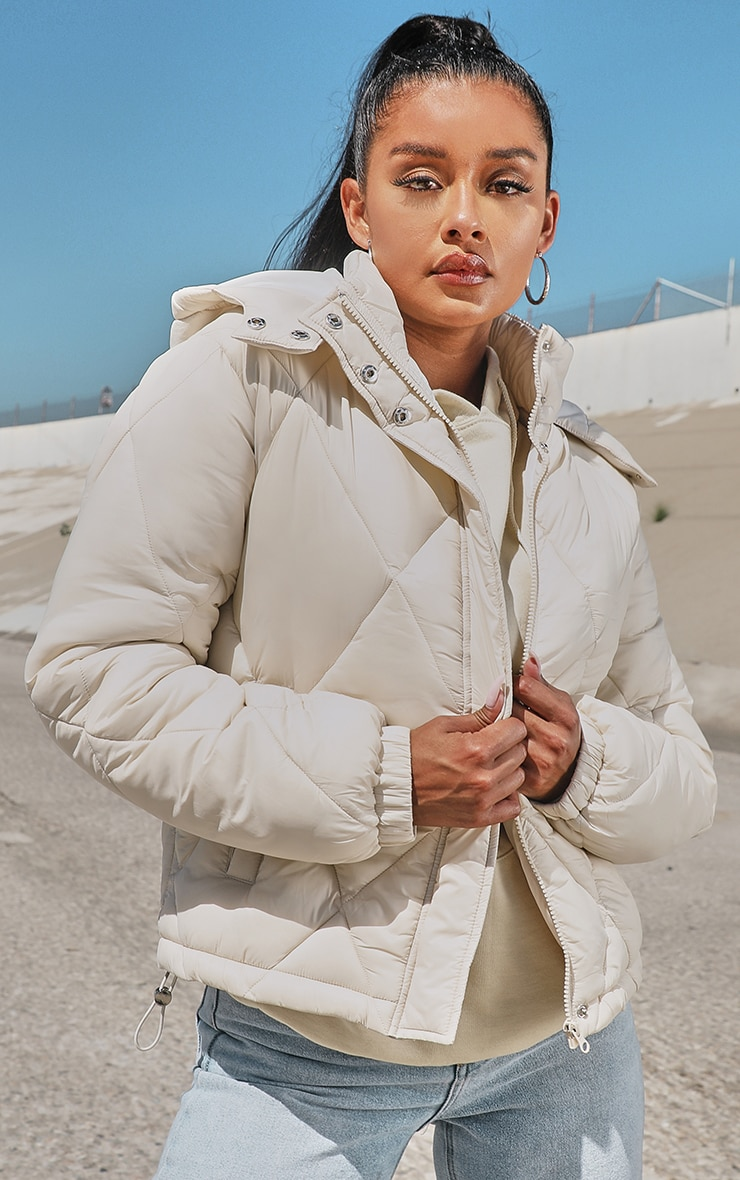 Stone Nylon Diamond Quilted Hooded Puffer Jacket 1