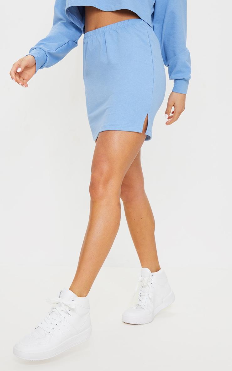 Petite Blue Split Hem Sweat Mini Skirt 2