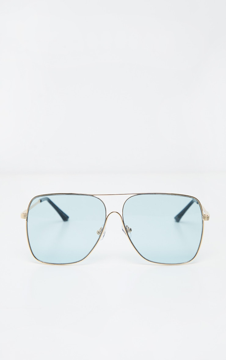 Blue Lens Metal Frame Retro Aviator Glasses 2