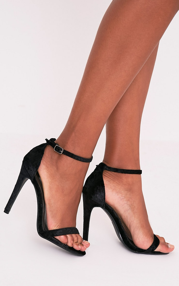 Clover Black Velvet Strap Heeled Sandals 2