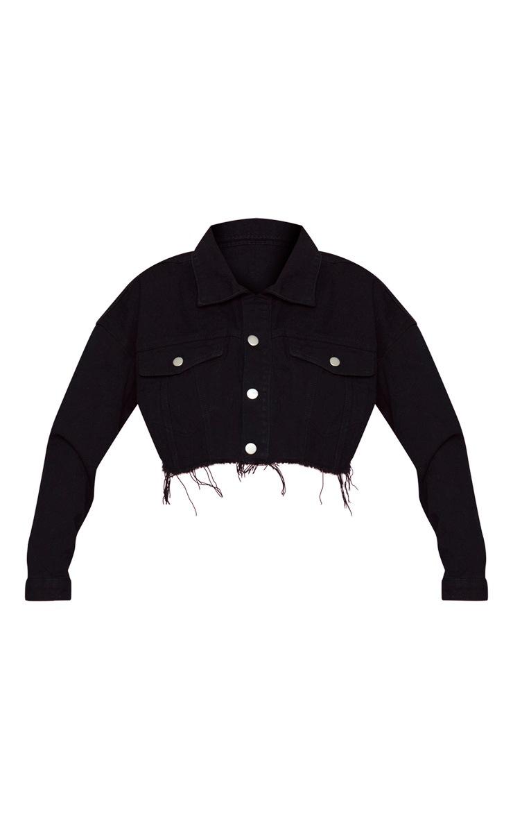KARL KANI Black Cropped Denim Jacket 4