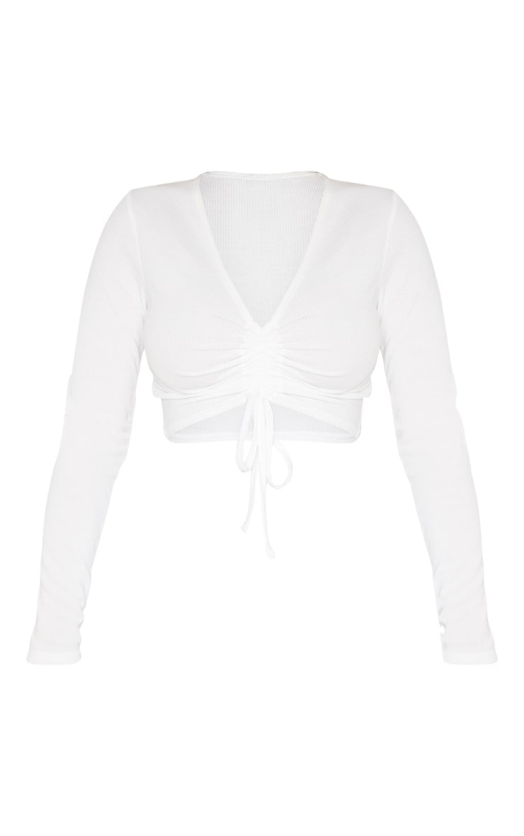 Shape White Ribbed Long Sleeve Ruched Front Crop Top 3