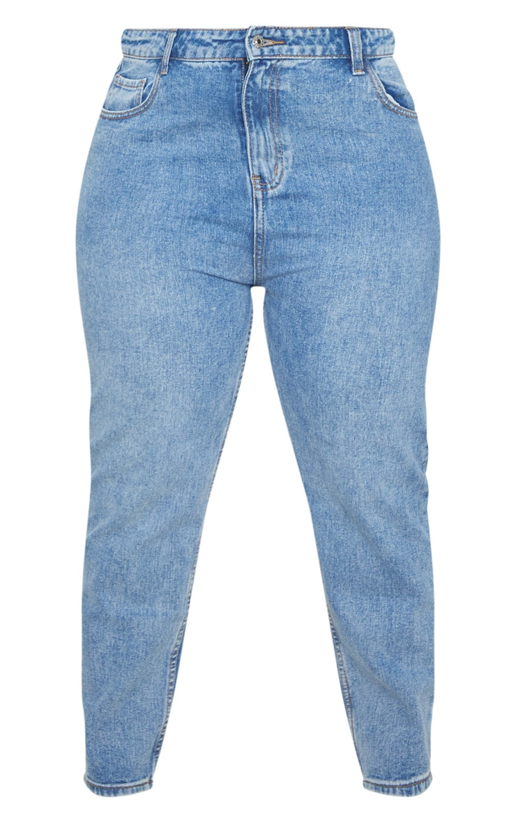 Plus Mid Washed Mom Jean 5