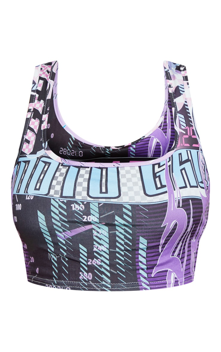 Plus Pink Square Neck Motocross Print Crop Top 3