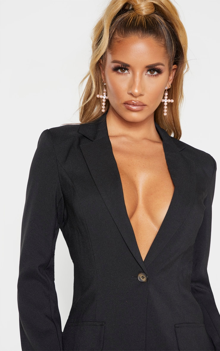 Black Structured Suit Woven Blazer    4