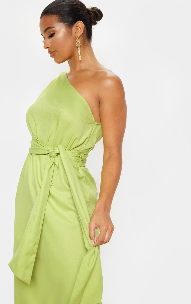 Lime One Shoulder Tassel Dress 5