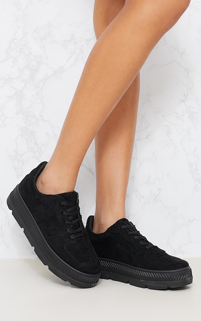 Black Velvet Platform Trainers Pretty Little Thing UTUVwun