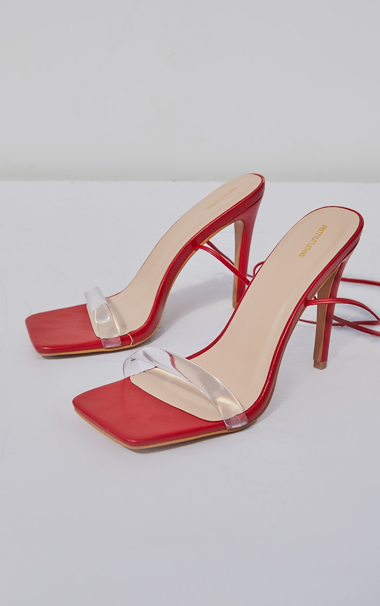 Red Wide Fit Clear Strap Lace Up High Heeled Sandals 3