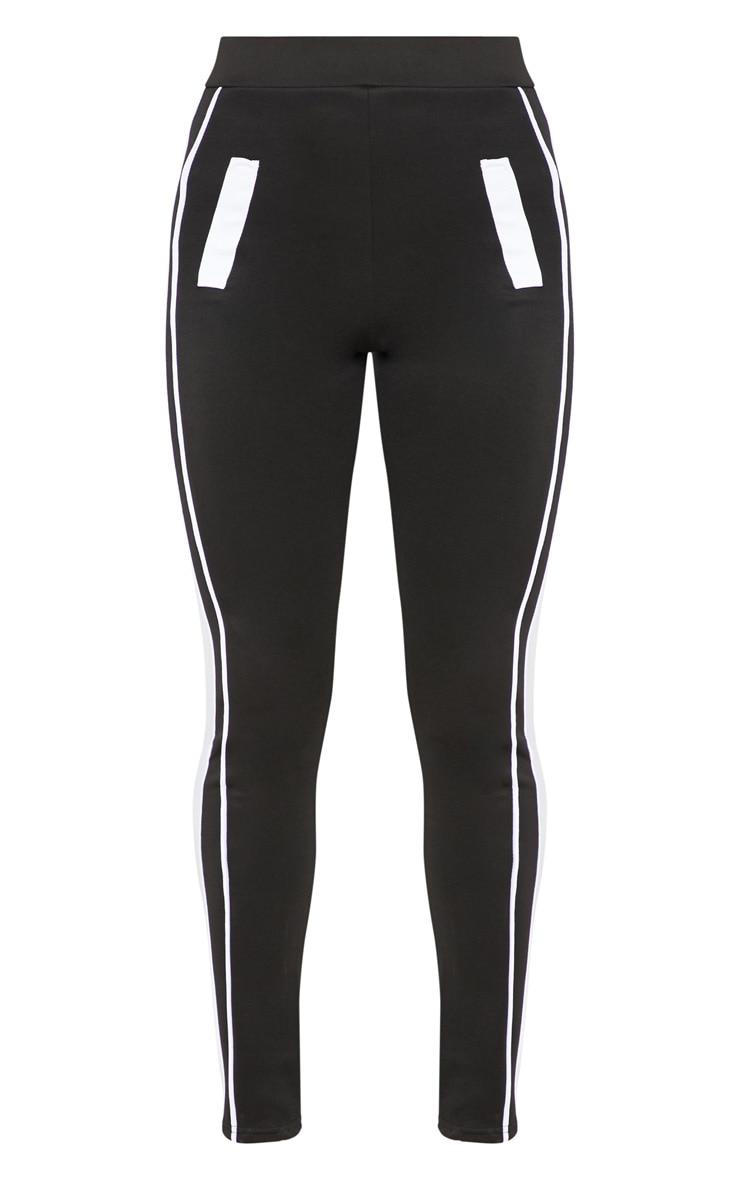 Black Scuba Contrast Side Stripe Skinny Trouser 3