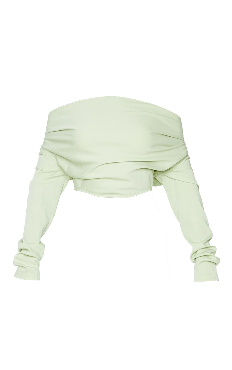 Sage Green Woven Draped Front Long Sleeve Cropped Shirt 5