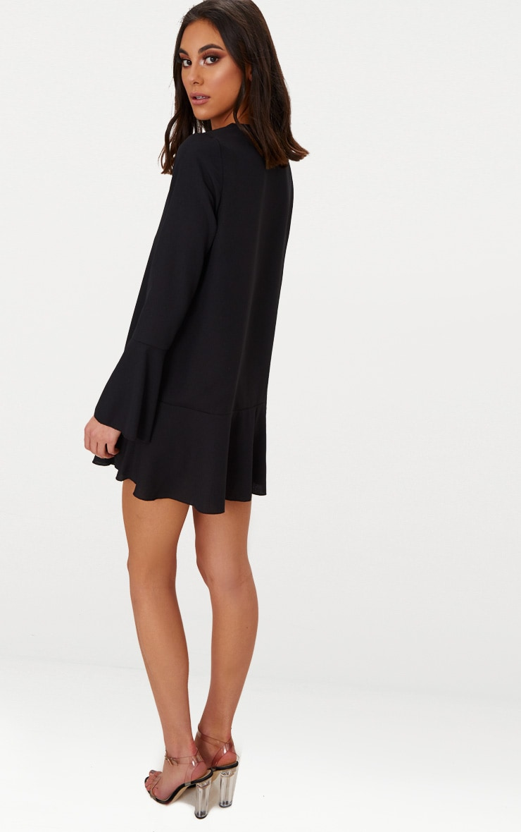Black Button Frill Hem Shift Dress 2