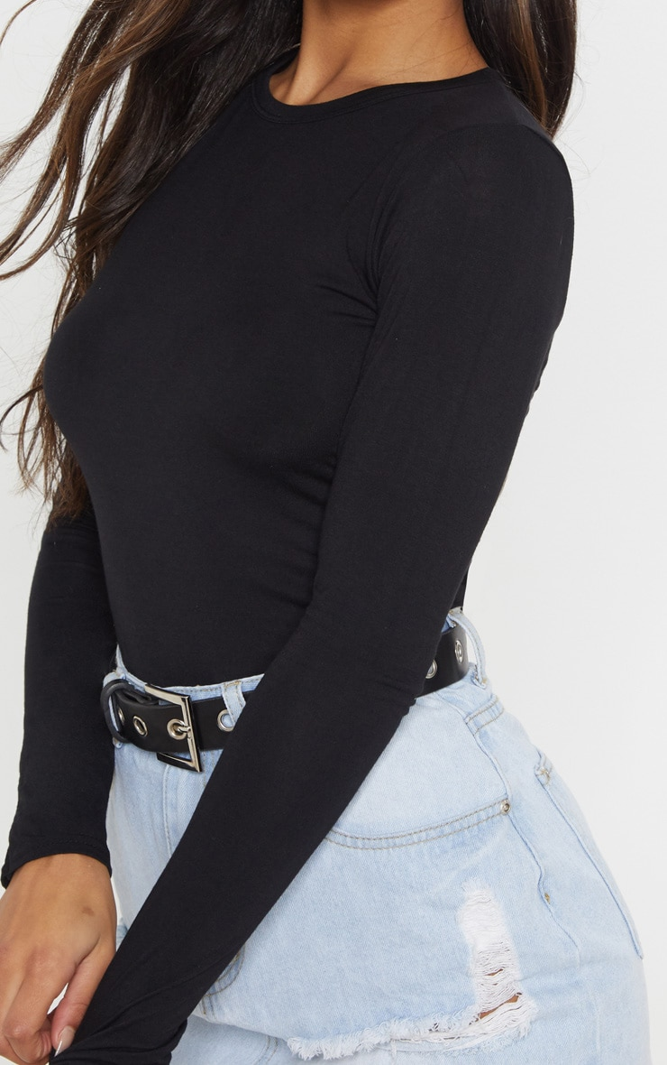 Essential Black Cotton Blend Long Sleeve Fitted T Shirt 4