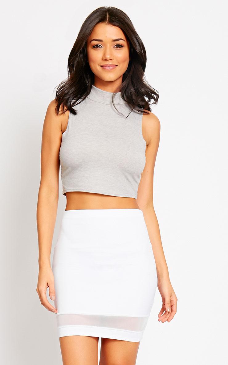 Attie White Scuba Mesh Mini Skirt 1