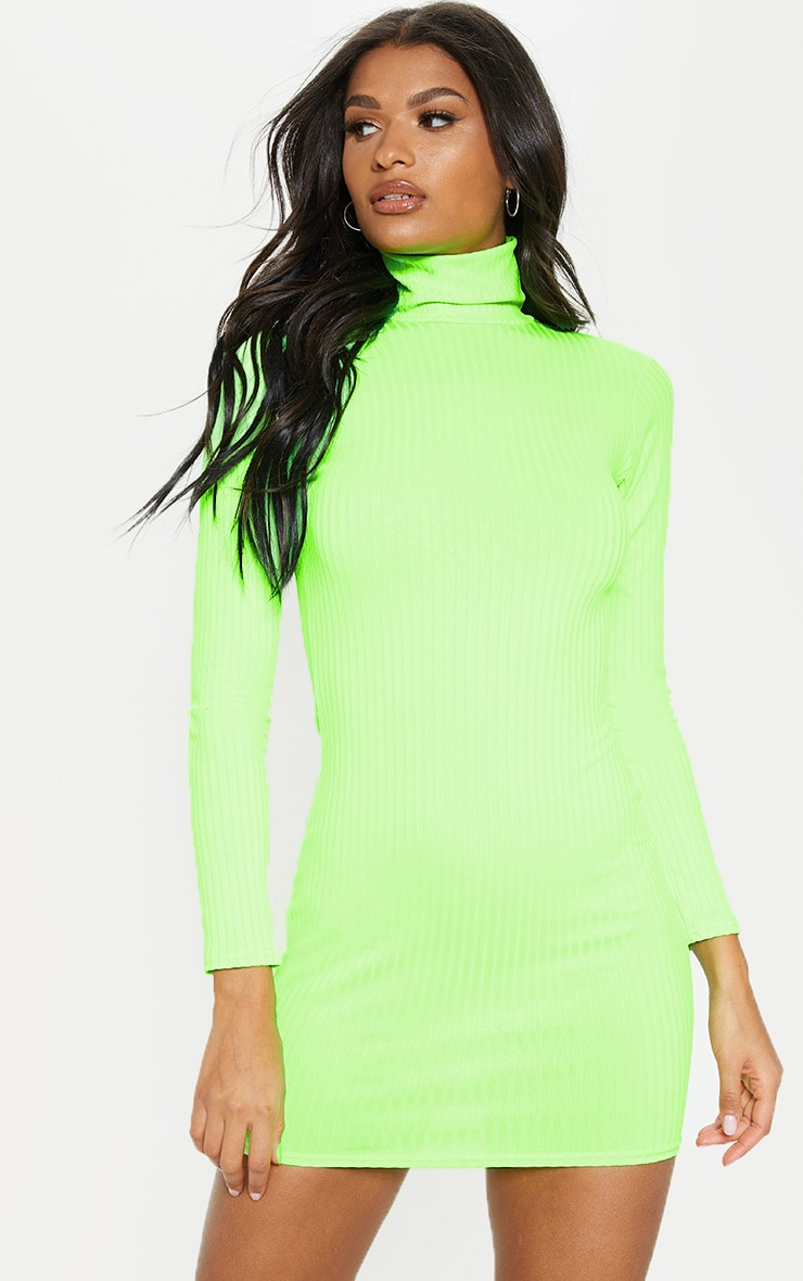 Neon Lime Ribbed Long Sleeve High Neck Bodycon Dress 4