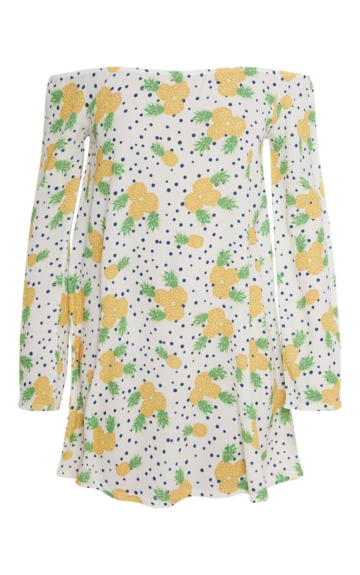 White Pineapple Print Bardot Flare Sleeve Smock Dress 3