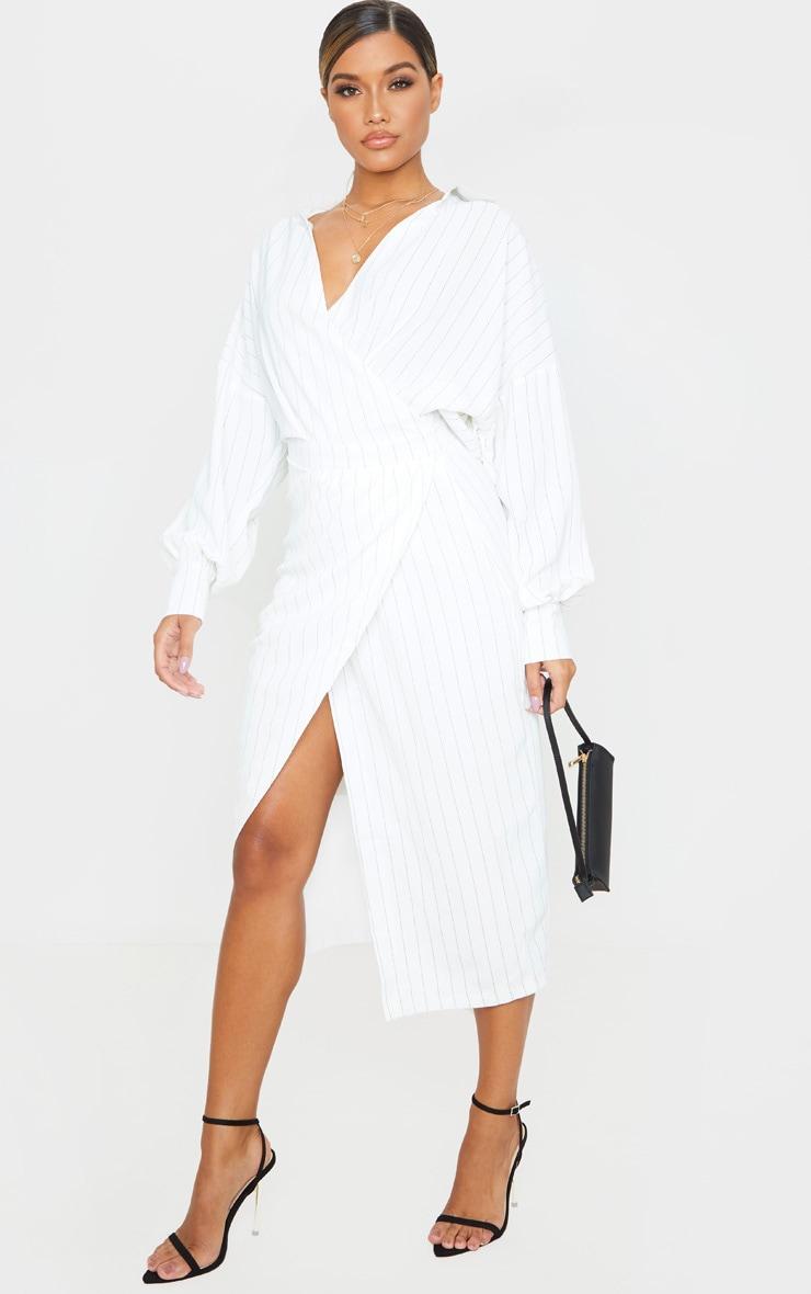 White Pinstripe Midi Shirt Dress 4