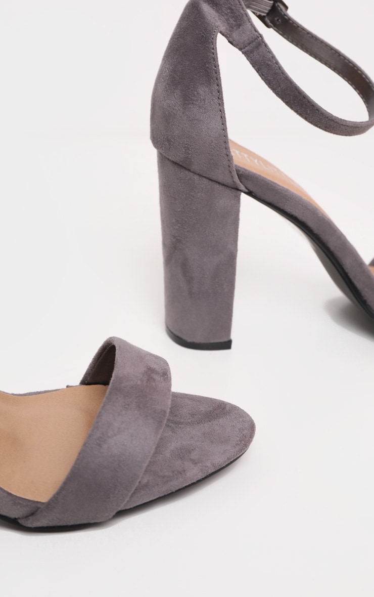 May Grey Faux Suede Block Heeled Sandals 5