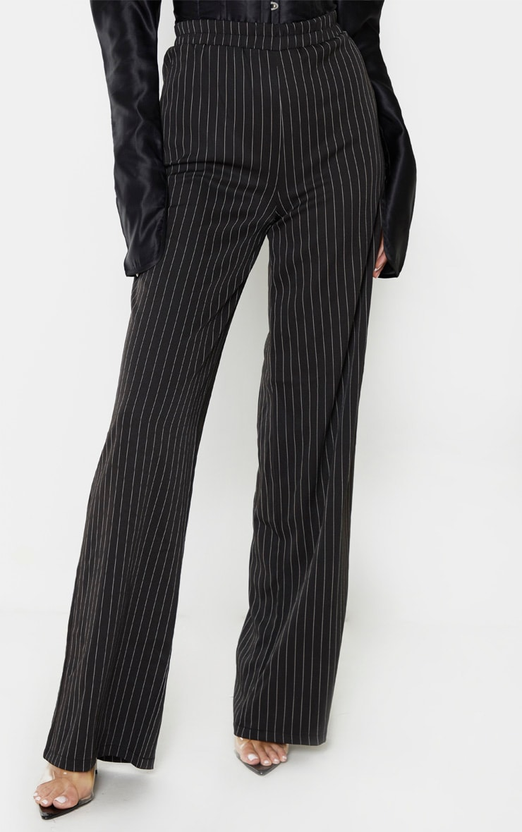 Tall Black Pinstripe Wide Leg Elasticated Flared Trouser 2