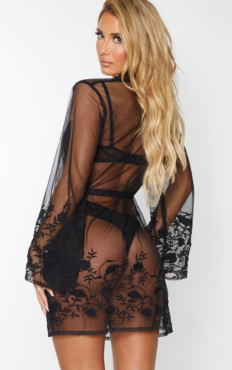 Black Embroidered Mesh Floral Robe 2